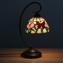 1-Bulb Bedside Night Table Light Tiffany Pink/Orange Floral and Butterfly Patterned Desk Lamp with Dome Stained Glass Shade
