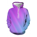 Purple Stylish Ombre Long Sleeve Drawstring Pouch Pocket Loose Fit Hoodie for Guys