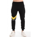 Simple Colorblock Zipper Pocket Elastic Cuffed Mid Rise Slim Fit Ankle Length Jogger Pants for Men