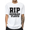 Chic Mens Letter Rip Printed Short Sleeve Crew Neck Loose T-shirt in White