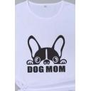 Fashion Girls Letter Dog Mom Cartoon Graphic Rolled Short Sleeve Crew Neck Slim Fit T Shirt