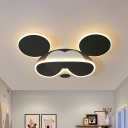 Iron Mouse Wearing Glasses Flushmount Cartoon Black LED Ceiling Mount Lamp in Warm/White Light