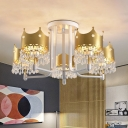 Gold Crown Ceiling Chandelier Cartoon 5 Heads Iron Pendant Lighting Fixture with Crystal Draping