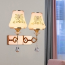 Ivory Glass Flared Wall Lighting Modern 2 Bulbs Living Room Crystal Wall Light in Gold