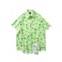 Fashionable Guys Allover Fruit Printed Short Sleeve Point Collar Button down Curved Hem Chest Pocket Loose Shirt for Men