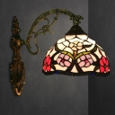 Peony Wall Mounted Lamp Tiffany Stained Glass 1 Light Bronze Sconce Lighting Fixture