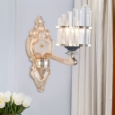 1/2-Bulb Wave-Edge Wall Lighting Ideas Traditional Gold Crystal Prism Wall Mount Light for Living Room