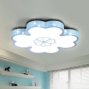 White/Blue Clover Flush Light Fixture Macaron Acrylic LED Ceiling Lamp with Etched Meteor Side