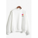 Simple Letter Likee Colorful Heart Graphic Long Sleeve Mock Neck Relaxed Pullover Sweatshirt for Ladies