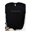 Chic Womens Colorful Letter Printed Rolled Short Sleeve Crew Neck Loose Fit Tee Top in Black