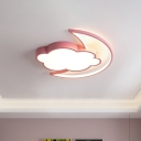 Cartoon LED Ceiling Light Fixture Pink/Blue Moon Hiding Behind Cloud Flush Mount with Acrylic Shade