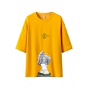 Trendy Guys Letter New Geographic One Printed 3/4 Sleeves Crew Neck Loose Tee Top