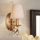 Rural Cone Shade Wall Lighting 1 Bulb Fabric Sconce Light Fixture with Crystal Detail in Gold