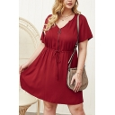 Stylish Womens Solid Color Short Sleeve V-neck Zipper Front Drawstring Waist Short Pleated A-line Dress