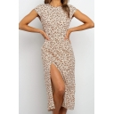 Trendy Womens Ditsy Floral Printed Sleeveless Crew Neck High Cut Midi Shift Dress in Apricot