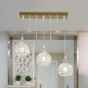 Gold 3 Heads Suspension Lamp Modern Crystal Encrusted Dome Multi Light Pendant Lighting