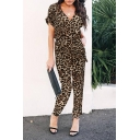 Trendy Womens Leopard Printed Rolled Short Sleeve V-neck Button up Bow Tie Waist Ankle Relaxed Jumpsuit in Brown