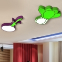 Vegetables Acrylic Flush Mount Light Kids LED White Flushmount Lighting for Bedroom