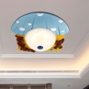 Bear and Mushroom Resin Flush Light Cartoon Red/Blue LED Ceiling Mount Lighting with Dome White Glass Shade
