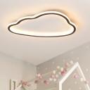 Kids Cloud Acrylic Flush Mount LED Flush Ceiling Light Fixture in White for Bedroom