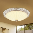 White Glass Domed Ceiling Lighting Antique LED Bedroom Flush Mount Light Fixture with Carved Edge