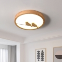 Nordic LED Flush Light Fixture Wood Ultrathin Circle Ceiling Flush Mount with Acrylic Shade and Bird Pattern