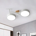 Kids Bike Iron Flush Mount Fixture LED Close to Ceiling Light in Grey/White/Green and Wood with Recessed Diffuser