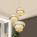 Champagne Crystal Circle Cluster Pendant Minimalism 3 Lights Dining Room Ceiling Lamp