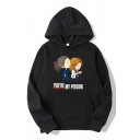 Stylish Boys Letter You're My Person Cartoon Figure Graphic Long Sleeve Kangaroo Pocket Relaxed Hoodie