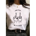 Korean Style Letter United Witches Gestures Graphic Short Sleeve Crew Neck Loose White Tee for Women