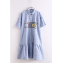 Lovely Girls Cat Embroidery Stripe Printed Bell Sleeves Turn-down Collar Button down Ruffled Trim Mid A-line Shirt Dress in Light Blue