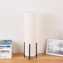Beige Column Nightstand Light Minimalistic 1-Light Fabric Table Lamp with Claw Base
