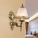 Bell Frosted Glass Wall Sconce Lighting Classic Style 1/2 Bulbs Living Room Wall Light in Brass with Metal Trim