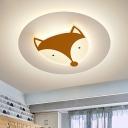 LED Bedroom Flush Mount Lighting Kids Blue/Coffee Flush Lamp with Fox/Deer Acrylic Shade in White/Warm Light