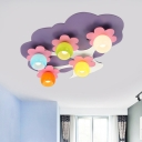 Purple Tree Shape Flushmount Lamp Macaron 5 Bulbs Wood Semi Flush Mount Lighting with Orb Colorful Glass Shade