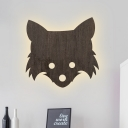 LED Bedside Wall Sconce Lighting Cartoon Black Wall Lamp with Fox Head Shape Wood Panel Shade in White/Warm Light