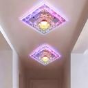 Purple Square Flush Ceiling Light Simple Crystal LED Corridor Flush Mount Lamp in White/Multi Color Light