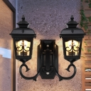Clear Glass Lantern Wall Light Countryside 2-Bulb Outdoor Wall Sconce Lamp in Black