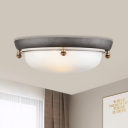 White Glass Domed Flush Mount Lighting Country 3 Heads Bedroom Close to Ceiling Lamp
