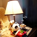 Resin Panda Nightstand Light Cartoon 1 Bulb Black and White Table Lamp with Cone Fabric Shade