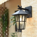Birdcage Clear Rippled Glass Wall Light Fixture Countryside 1-Bulb Outdoor Sconce in Bronze/Black