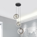 Star Glass Ball Multi-Pendant Nordic 3-Light Chrome Finish LED Suspension Lamp with Loop