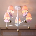 White Cone Chandelier Light Kids 3/5 Bulbs Fabric Pendant Lamp with Resin Unicorn Decoration