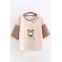 Lovely Girls Letter Bear Graphic Contrasted Short Sleeve Round Neck Bow Tie Panel Loose T Shirt in Khaki