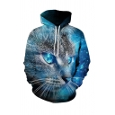 3D Cat Printed Long Sleeve Drawstring Pouch Pocket Loose Fit Cool Hoodie for Men