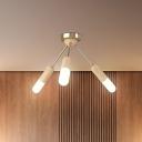 Nordic 3/5-Head Semi Flush Light Wood Sputnik Ceiling Mount Lamp with Acrylic Shade