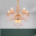 6/8-Light Crystal Chandelier Traditional Gold Candelabra Living Room Ceiling Hanging Light