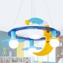 Star and Moon Pendant Light Cartoon Metal 4 Lights Blue Chandelier with Globe Opal Glass Shade