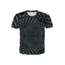 Geo Tunnel 3D Printed Short Sleeve Crew Neck Sim Fitted Cool T-shirt in Black