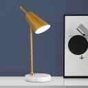 Angle-Cut Conical Rotating Night Light Postmodern Metal 1 Bulb Polished Gold/Silver Table Lamp
